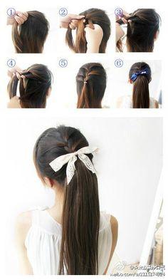 pretty braid into ponytail<3