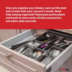One cleaning tip to get your kitchen cabinets and drawers looking brand new is to vacuum them! House Cleaning Tips, Cleaning Hacks, Clean House, Drawers, Kitchen Cabinets, Set Of Drawers, Cabinets, Chest Of Drawers, Household Cleaning Tips