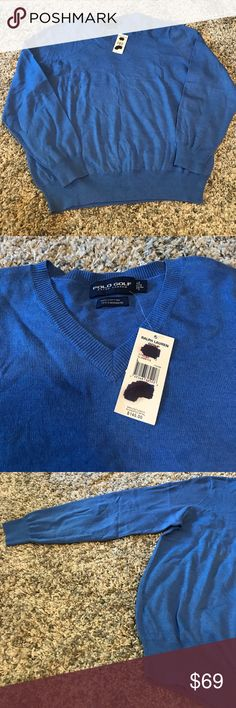 NWT Men's Polo Golf Large Cashmere Cotton Sweater New with Tags! Long sleeve, super soft! I love the luxurious feel! Men's large. Reasonable offers accepted! Bundle for a private discount! Ralph Lauren Sweaters V-Neck
