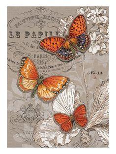 Art Print: Linen Trio Ivory Wall Art by Chad Barrett by Chad Barrett : Decoupage Vintage, Butterfly Art, Vintage Butterfly, Monarch Butterfly, Vintage Pictures, Vintage Images, Chad Barrett, Vintage Labels, Beautiful Butterflies