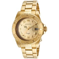 Invicta Women's Angel 18k Gold Plated Ss Gold-Tone Dial ($65) ❤ liked on Polyvore featuring jewelry, watches, 18k gold plated jewelry, crown jewelry, logo watches, water resistant watches and polish jewelry