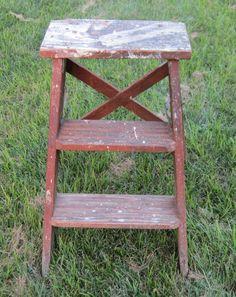 Antique Step Ladder Stool Primitive Vintage Distressed Patina Wooden
