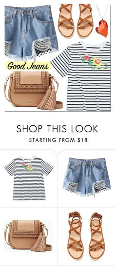 """Denim Cutoffs"" by mada-malureanu ❤ liked on Polyvore featuring Kate Spade, La Preciosa, bag, summerstyle, Tee, DENIMCUTOFFS and zaful"
