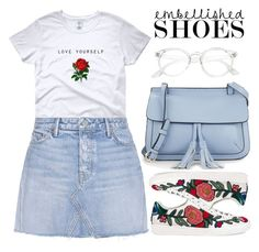 """""""Carefree"""" by apoorvakingar ❤ liked on Polyvore featuring Gucci, GRLFRND, KC Jagger and embellishedshoes"""