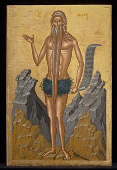 Emmanuel Lambardos, Iráklion, Crete, active 1593-1647 Saint Onouphrios, early to mid 17th century Post-Byzantine Crete, Iráklion. Menil coll.