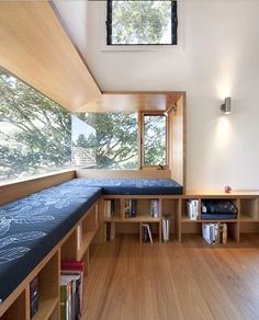 Window seat with built in shelves