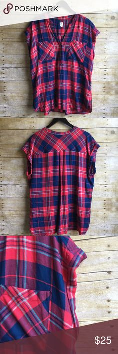 Red & Blue Plaid Blouse EUC▪️worn twice▪️No stains or damage▪️Soft, thin, lightweight material GAP Tops Blouses