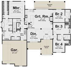 Modern Farmhouse Plan: Square Feet, 4 Bedrooms, Bathrooms – - Home & DIY Best House Plans, House Floor Plans, Floor Plan Drawing, Drawing House Plans, Board And Batten Siding, Modern Farmhouse Plans, Farmhouse Ideas, Bookshelves Built In, Build Your Dream Home