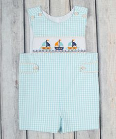 Another great find on #zulily! Aqua Plaid Smocked Sailboat Shortalls - Infant & Toddler #zulilyfinds