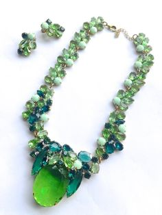 Rhinestone Statement Necklace Earring Set Green by CrimsonVintique, $200.00