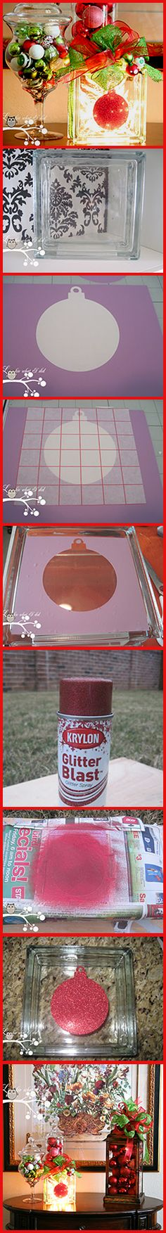 Christmas Glass Block using Krylon Glitter Blast: #diy #christmas #holiday #glitter #glassblock #lighting #tutorial #reuse #recycle http://www.lookiewhatidid.blogspot.com/2011/12/glass-block-using-krylon-glitter-blast.html                                                                                                                                                                                 More