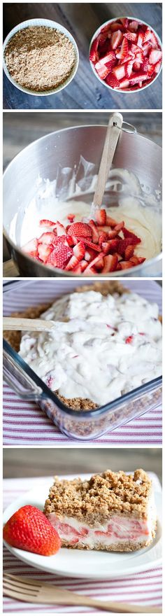 Strawberry Crunch Cake Strawberries are in season! Give this delicious strawberry dessert a try!Strawberries are in season! Give this delicious strawberry dessert a try! Yummy Treats, Delicious Desserts, Sweet Treats, Dessert Recipes, Yummy Food, Unique Desserts, Dessert Healthy, Healthy Cake, Think Food
