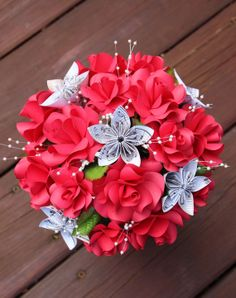 Items similar to Paper Flower Bouquet on Etsy Origami Flowers, Paper Flowers Diy, Flower Crafts, Paper Ribbon, Ribbon Art, Origami Ball, Paper Bouquet, Crafty Craft, Flower Wall