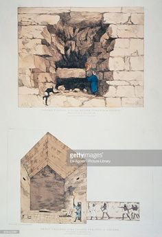 Illustrazione stock : Entrance and great chamber of Chephrens pyramid in Giza, drawing by Giovanni Battista Belzoni (1778-1824), from Narrative of Operations and Recent Discoveries Within Pyramids, Temples, Tombs and Excavations in Egypt and Nubia, 1822, London