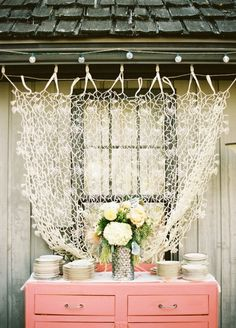 bridal shower decor- hang lace or tulle behind a table for a focal point and nice pictures #Christmas #thanksgiving #Holiday #quote