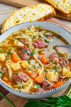 2 hours · Gluten free · Serves simple and tasty corned beef and cabbage soup! 10 ingredients Meat 1 lb Corned beef in pickling, r. Corn Beef And Cabbage Soup, Detox Soup Cabbage, Cabbage Soup Recipes, Cabbage Diet, Corned Beef And Cabbage, Potato Recipes, Corned Beef Stew, Slow Cooker Corned Beef, Corned Beef Recipes