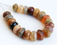 Natural Ethiopian Opal Faceted Rondelle Beads by Jinxybeads, $24.99