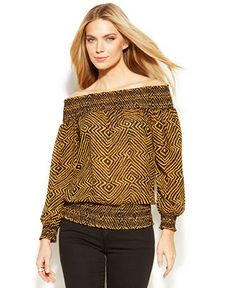MICHAEL Michael Kors Off-The-Shoulder Printed Blouse - What's New - Women - Macy's Blouse Online, Whats New, Printed Blouse, New Woman, Off The Shoulder, Bell Sleeve Top, Michael Kors, Prints, Shopping