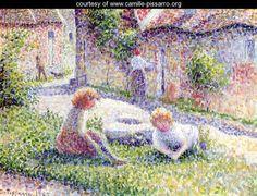 Children on a farm - Camille Pissarro - www.camille-pissarro.org