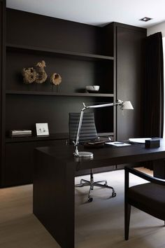 All Black Office #moodywalls #officedesign