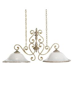 Kichler Lighting 2952 WBR Kendale Collection Two Light Hanging Island Chandelier in Wispy Brulee Finish