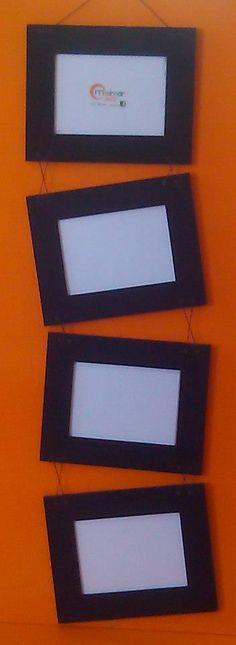 Portarretratos para 4 fotos en mdf teñidos, para colgar.