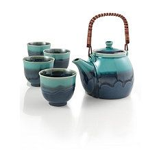 Azure Blue Teapot Set - this is the teapot I want from teavana when I have money