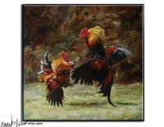 Original Oil Painting, Large Wall Art. Animal Oil Painting, Animal Art, Canvas Art. Fighting Rooster Painting