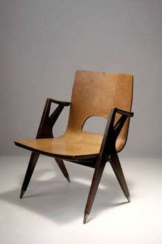 Anonymous; Plywood and Mahogany Armchair, c1955.