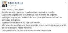 RN POLITICA EM DIA: DO FACEBOOK DE EDSON BARBOSA...