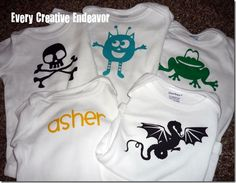 Custom onesies made with a die cutter and heat transfer