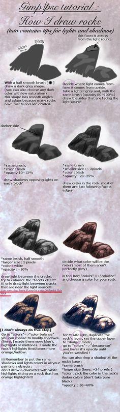 Tuto : how to draw a rock (+light/shadows tips) by spinoza1996 http://spinoza1996.deviantart.com/art/Tuto-how-to-draw-a-rock-light-shadows-tips-473914201