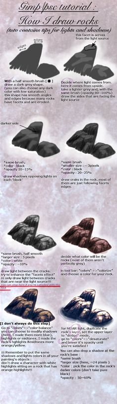 Tuto : how to draw a rock (+light/shadows tips) by spinoza1996 http://spinoza1996.deviantart.com/art/Tuto-how-to-draw-a-rock-light-shadows-tips-473914201