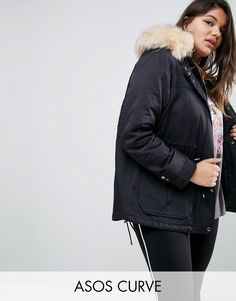 Get this Asos Curve s parka now! Click for more details. Worldwide  shipping. ASOS CURVE Ultimate Parka - Black  Plus-size coat by ASOS CURVE 6688392f092a