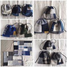 こんにちは☺︎今日は晴れて気持ちの良い青空で嬉しい•*¨*•.¸¸♬(*˙˘˙*)ஐ 最近作ったクロスや巾着、ポットマットとコースターをcreemaに出品しました✧よかったら覗いてみてください⑅◡̈*よろしくお願いします✦ฺ#刺し子#sashiko #stitching #handstitched #巾着#ポットマット、コースター#ランチョンマット#キッチン雑貨#creema Japanese Patchwork, Japanese Textiles, Patchwork Bags, Quilted Bag, Fabric Purses, Fabric Bags, Boro Stitching, Recycle Jeans, Rice Bags
