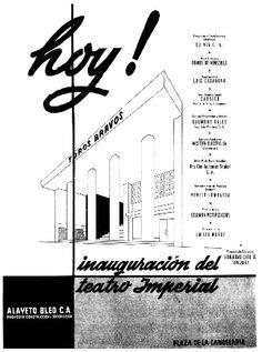 """Década 50. Teatro Imperial, Plaza de la Candelaria. Fuente: Libro """"Los cines de Caracas en el tiempo de los cines""""."""