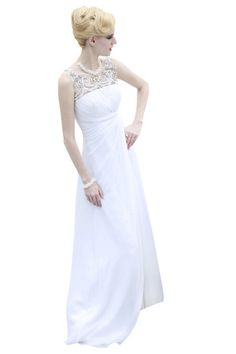 White Sleeveless Lace Sheath Wedding Dress (80620) - Made To Order  £495.00  Made to order - 2 to 4 weeks   Classic white sleeveless wedding dress featuring a pleated embellished bodice with hand embroidered lace all through the shoulders and the back.