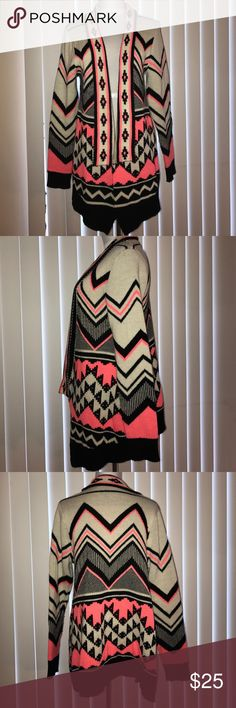 Neon Printed Cardigan Beautiful neon printed cardigan. Worn once in perfect condition. 100% acrylic. shophopes Sweaters Cardigans