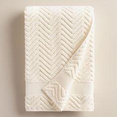 One of my favorite discoveries at WorldMarket.com: Ivory Chevron Spa Bath Towel