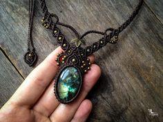 Macrame boho necklace big Labradorite - Custom order - bohemian jewelry mariposa ethnic chic micro macramé micro-macrame tribal