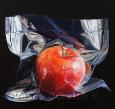 Apple - oil on canvas cm Tjalf Sparnaay, Still Life Artists, Still Life 2, Hyper Realistic Paintings, Photorealism, Still Life Photography, Crayon, Oil Painting On Canvas, Unique Art