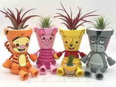 flower pots outdoor Thanks for noticin' me. This adorable Eeyore inspired air plant holder is a unique, hand-made item that's sure to get noticed! This holder is perfect for use a Flower Pot Art, Flower Pot Design, Clay Flower Pots, Flower Pot Crafts, Flower Pot People, Clay Pot People, Clay Pot Projects, Clay Pot Crafts, Painted Clay Pots