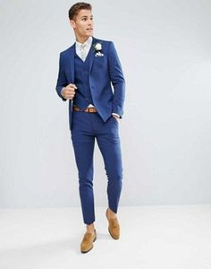 Browse online for the newest ASOS Wedding Skinny Suit Jacket in Blue Cross Hatch with Printed Lining styles. Shop easier with ASOS' multiple payments and return options (Ts&Cs apply). Summer Wedding Suits, Blue Suit Wedding, Wedding Tux, Wedding Dress Men, Groomsmen Suits, Groom Attire, Asos Wedding, Blue Suit Men, Skinny Suits