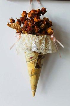 Cono con fiori per decorare la tua casa!