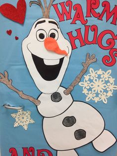 Close up of Olaf library door! Could be used on a bulletin board as well. Frozen, winter, and Valentine's Day
