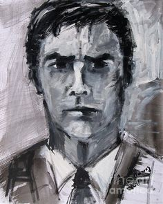 Thomas Gibson Aaron Hotchner Portrait Criminal Minds Sketch painting reproduction by Ginette