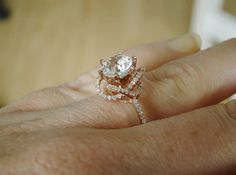 Halo White Sapphire Diamond Ring Gemstone Engagement Ring Custom Round Double Halo Setting 14K Rose Gold on Etsy, $1,129.00 // Wowzas - in white gold with rose prongs & a padparadscha this would be STUNNING - oval perhaps or cushion?