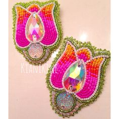 Native American Beaded Earrings Tulip set  by KianiKine on Etsy (Diné)
