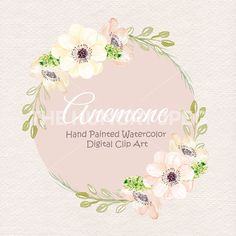 Watercolor Anemone Clipart Spring Flower Pink Floral Leaf