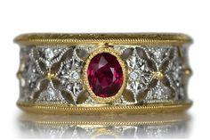 Platinum Gold No heat ruby Diamond ring K18YG/Pt900製非加熱ルビーダイアモンドフルエタニティリング